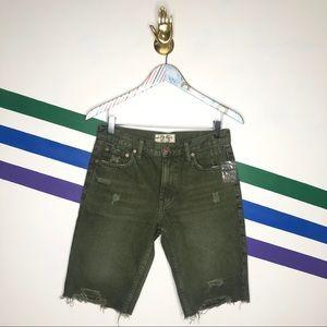NEW We the Free green Caroline cutoff denim shorts